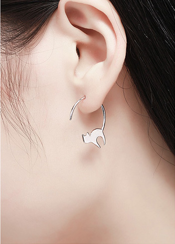 Asymmetrical Sterling Silver Cats Modern Dangle Earrings