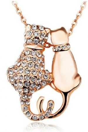 Rhinestone Cat Couple - Gold