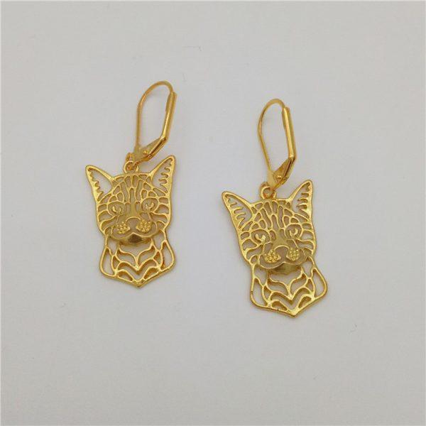 gold bengal cat earrings